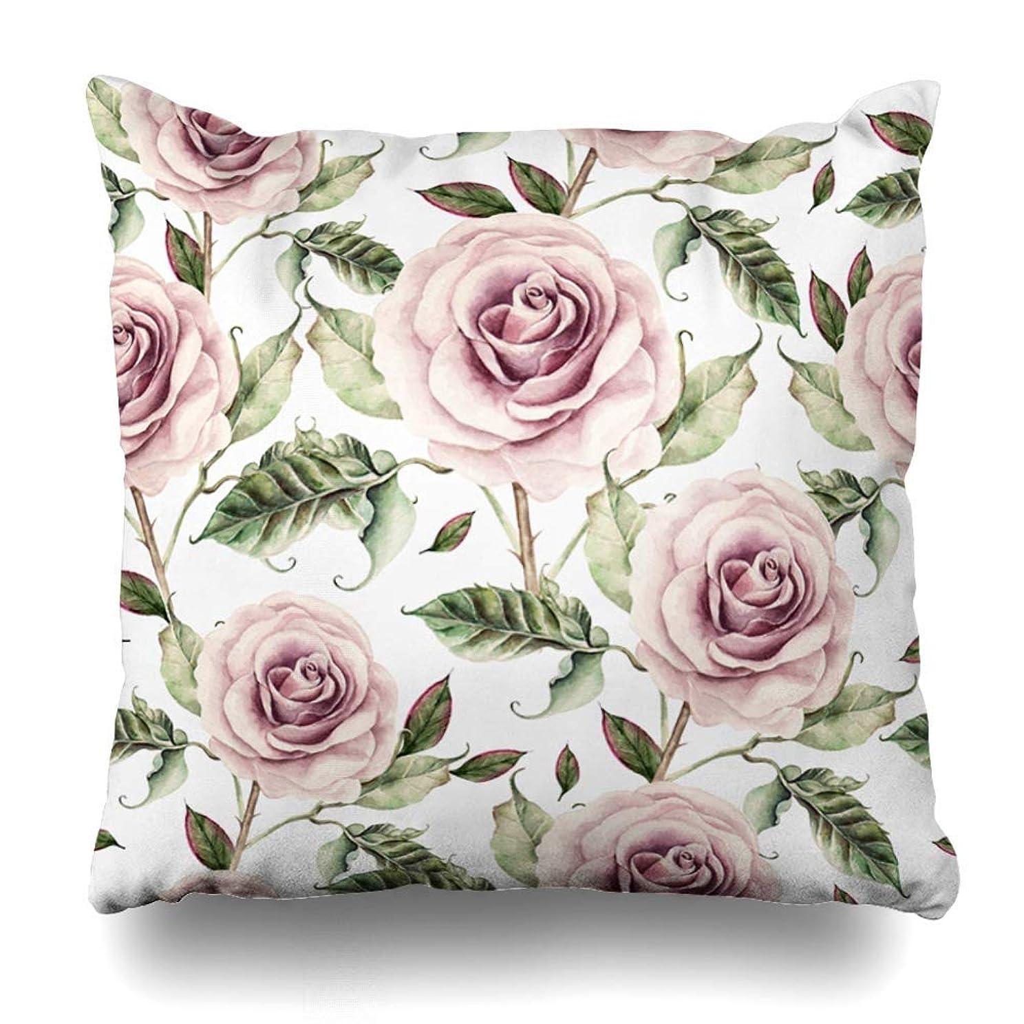 人種一緒に反動Qrriy Throw Pillow Cover Painting Floral Pattern Watercolor Realistic Rose Spring Nature Pink Abstract Accent Design Art Home Decor Cushion Case Square Size 20 X 20 Inches Zippered Pillowcase 枕,抱き枕カバー,枕カバ,実用的である