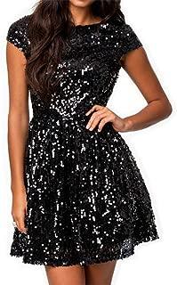 828 - Plus Size Cap Sleeves Sequins Skater Cocktail Club Dress