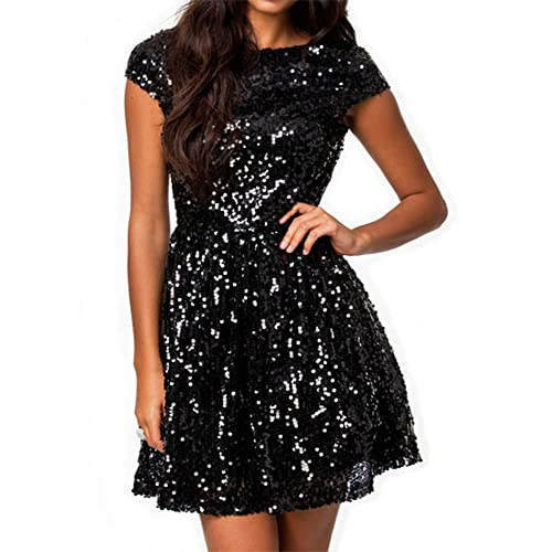 5d1ebbaa72eef 828 - Plus Size Cap Sleeves Sequins Skater Cocktail Club Dress