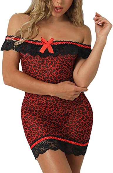Women Strappy Leopard Printed Lace Trim Lingerie Babydoll Mini Dress+G-string