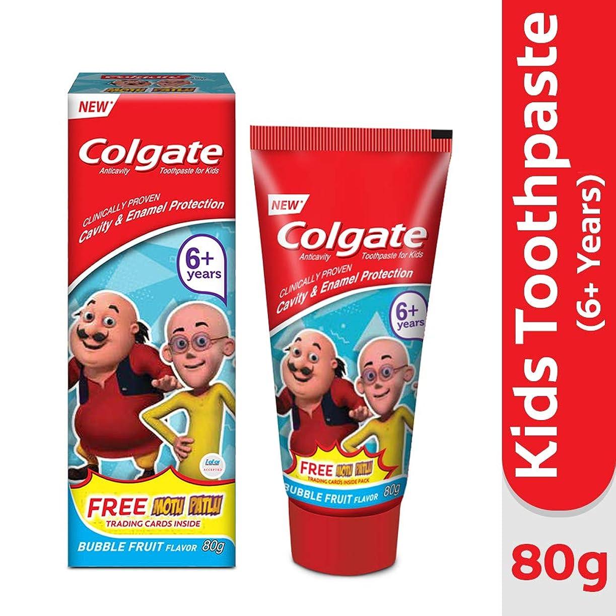 一時解雇するチョーク不格好Colgate Kids Anticavity Motu Patlu Toothpaste (6+ years), Bubble Fruit flavour – 80gm