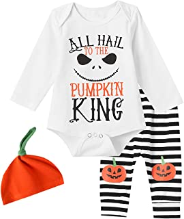 FUNNYBSG Baby Boys Halloween All Hail to The Pumpkin King Outfits Baby Birthday Pant Clothing Set