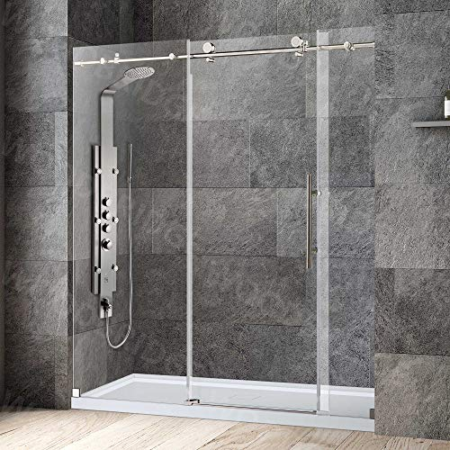 """WOODBRIDGE MBSDC7276-B Frameless Shower Doors 68-72"""" Width x 76"""" Height with 3/8""""(10mm) Clear Tempered Glass in Brushed Nickel Stainless Steel Finish"""