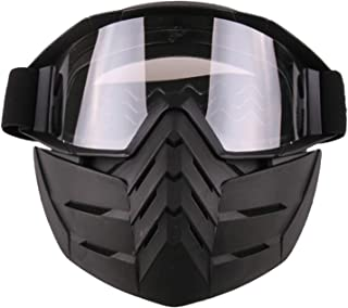 Aooaz Motorcycle Goggles Riding Detachable Mask Shield Goggles