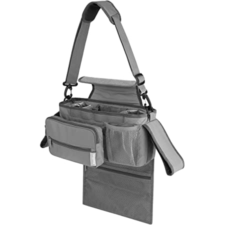Baby Stroller Organizer Universal Stroller Organizer Bag with Cup Holders Stroller Caddy Diaper Organizer Bag Includes Shoulder Strap Waterproof Easy Installation Extra Storage grey Grey