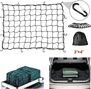 "Mind and Action 3'x4' Super Duty Bungee Cargo Net for Truck Bed, Rooftop Cover Max Stretches to 6'x8' with 12 pcs Aluminum Carabiners Small Grid 4""x4"""