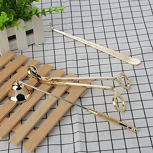 Moonvvin Ensemble d'accessoires 3 en 1 pour bougies, éteignoir à bougies, coupe-mèches et louche à mèche en acier inoxydable
