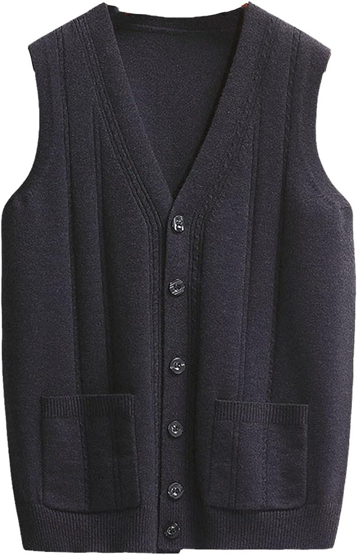 Men Clothing Solid Color V-Neck Vest Sweater Autumn Streetwear Pocket Vests
