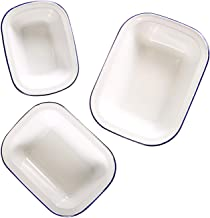 Webake Enamelware Roasting Pan 3 Pack Enameled Steel Oblong Pie Pan Pie Dish Roaster Pan Food Containers, Solid White with...