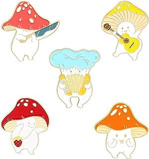 QIHOO Enamel Pin Brooches Cute Mushroom Lapel Badge Cartoon Plant Enamel Pin Set for Backpack Cloths Hats Funny Button Pin...