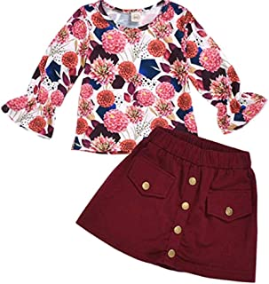 MODNTOGA Toddler Kid Baby Girl Long Sleeve Sunflower Tops+Skirt Dress 2PCS Outfit Set Fall Clothes