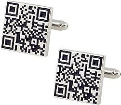 The Jewelbox QR Code White & Black Rhodium Brass Cufflink Formal Shirt Blazer Suit Cufflinks Pair Men Gift Box