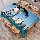 Rechteck Tischdecke140 x 200 cm,Coastal Decor, Miami Downtown mit Gebäuden in der Biscayne Bay und Palm,Couchtisch Tischdecke Gartentischdecke, Mehrweg, Abwaschbar Küchentischabdeckung für Speisetisch