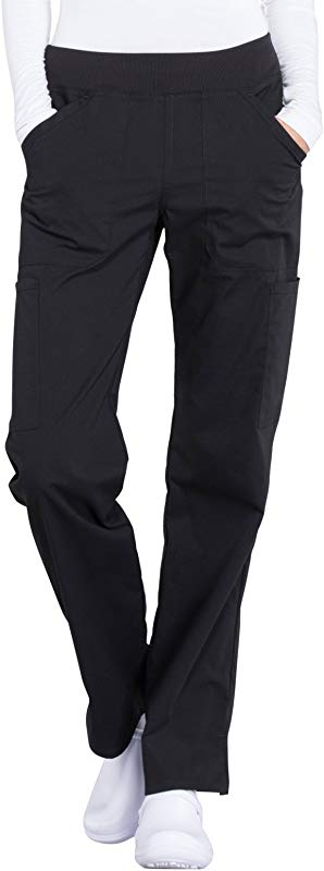 Cherokee Workwear Professionals WW170 Women S Mid Rise Straight Leg Pull On Cargo Pant