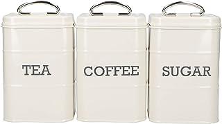 KitchenCraft LNTCSSETCRE Boîtes pour thé, café et Sucre, Crème Antique, m