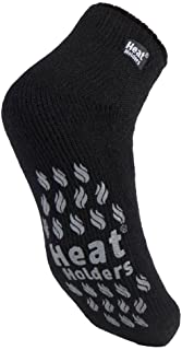 Heat Holders - Mens 2.3 TOG Winter Warm Thick Non Slip Low Cut Ankle Thermal Slipper Socks with Grips (6-11 uk, LC Black)