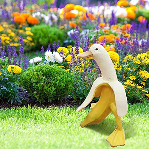 UHKL Creative Art Banana Duck Statue, Cute Peeled Banana Yellow Duck Home Garden Yard Patio Statues Outdoor Decor, Art-Banana Duck Ornaments Outdoor Decoration