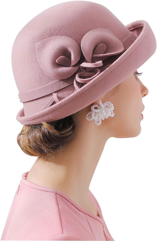 ORIDOOR Women Vintage Wool Felt Flowers Bucket Cloche Bowler Hat Church Wedding Dress Fascinator Hat Winter Felt Fedoras