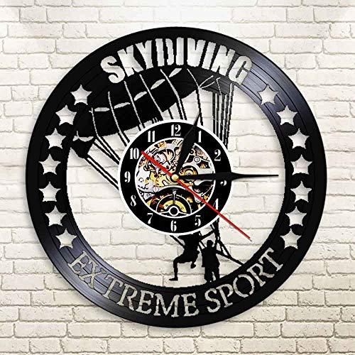 WERWN Extremsport Fallschirmspringen Wanduhr Armee Wanduhr Vinyl Uhr Fallschirmspringer Geschenke für Sportliebhaber