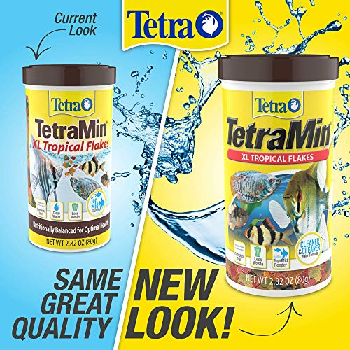Tetra TetraMin XL Tropical Flakes 2.82 Ounces, Large Flakes, Nutritionally Balanced Fish Food, Tetra TetraMin Large Tropical Fish Flake Food, 2.82 oz