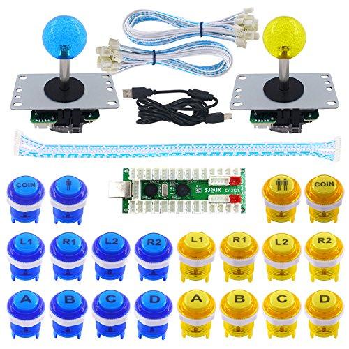 SJ@JX 2 Player Arcade Game DIY Kit LED Button Zero Delay USB Encoder 2 Player Mechanical Keyboard Switch Arcade Joystick Controller PC Raspberry Pi 2/3