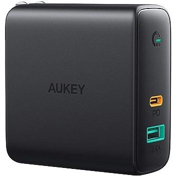 AUKEY ACアダプタ 充電器 USB-C急速充電器 アダプタ 60W 折畳式 / PD3.0対応 iPhone 11 / XS/XS Max/XR/X、GalaxyS9、MacBook Pro、iPad Pro、Nintendo Switchその他USB-C機器対応PA-D3