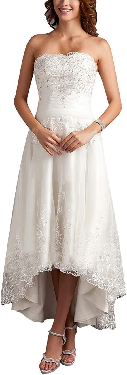 Cdress High Low Wedding Dresses Plus Size Bridal Gowns Strapless for Bride Lace Appliques