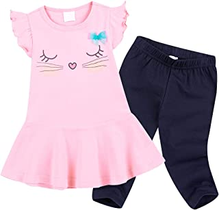 Cute Cat Elephant Print Toddler Baby Girls Clothes Set,Long Sleeve T-Shirt +Pants Outfit