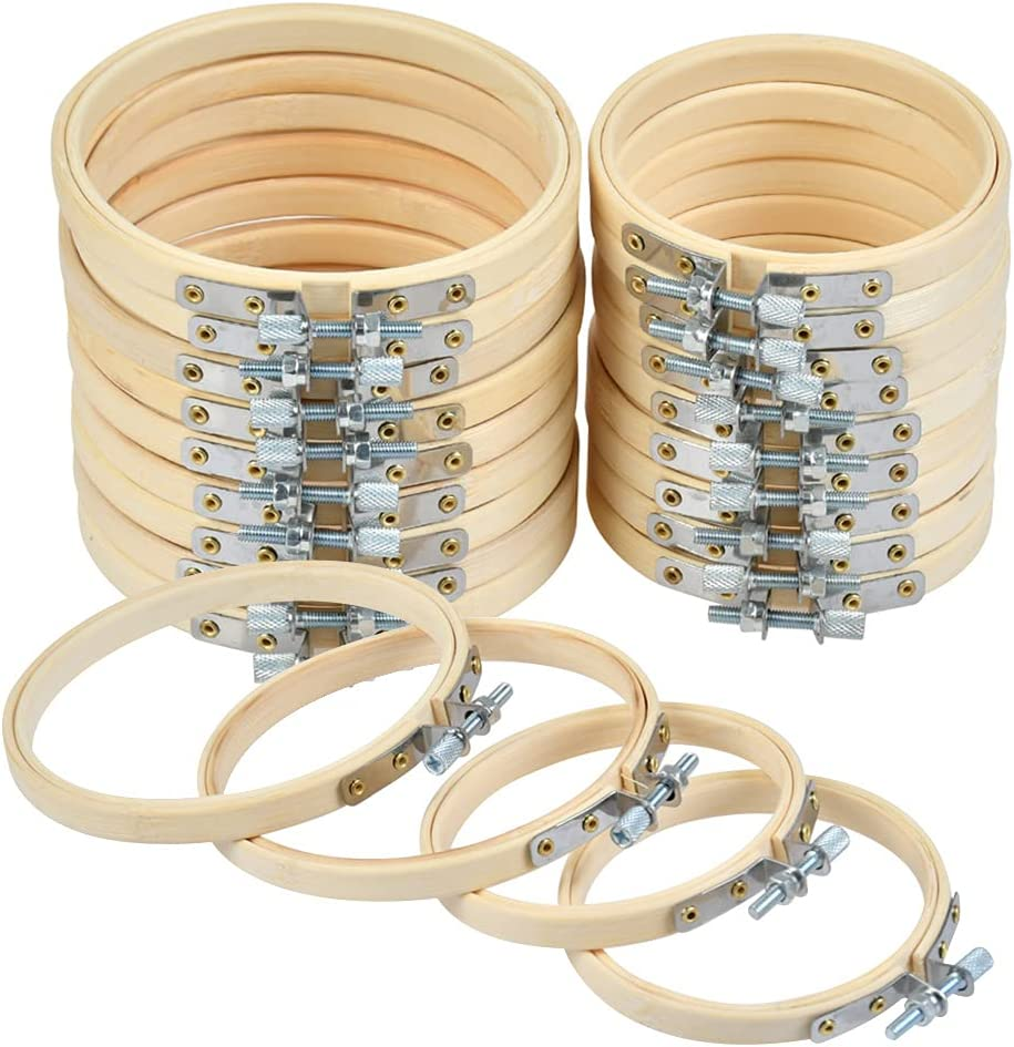 WOWOSS 20 Pieces 3 Inch 4 Oakland Mall SEAL limited product Hoops Embroidery Wooden A Round