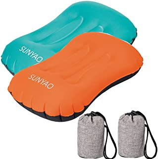 SUNYAO Ultralight Inflatable Camping Pillows - Compressible, Compact, Inflatable, Comfortable, Ergonomic Pillow for Neck & Lumbar Support While Camping,Backpacking,Hiking