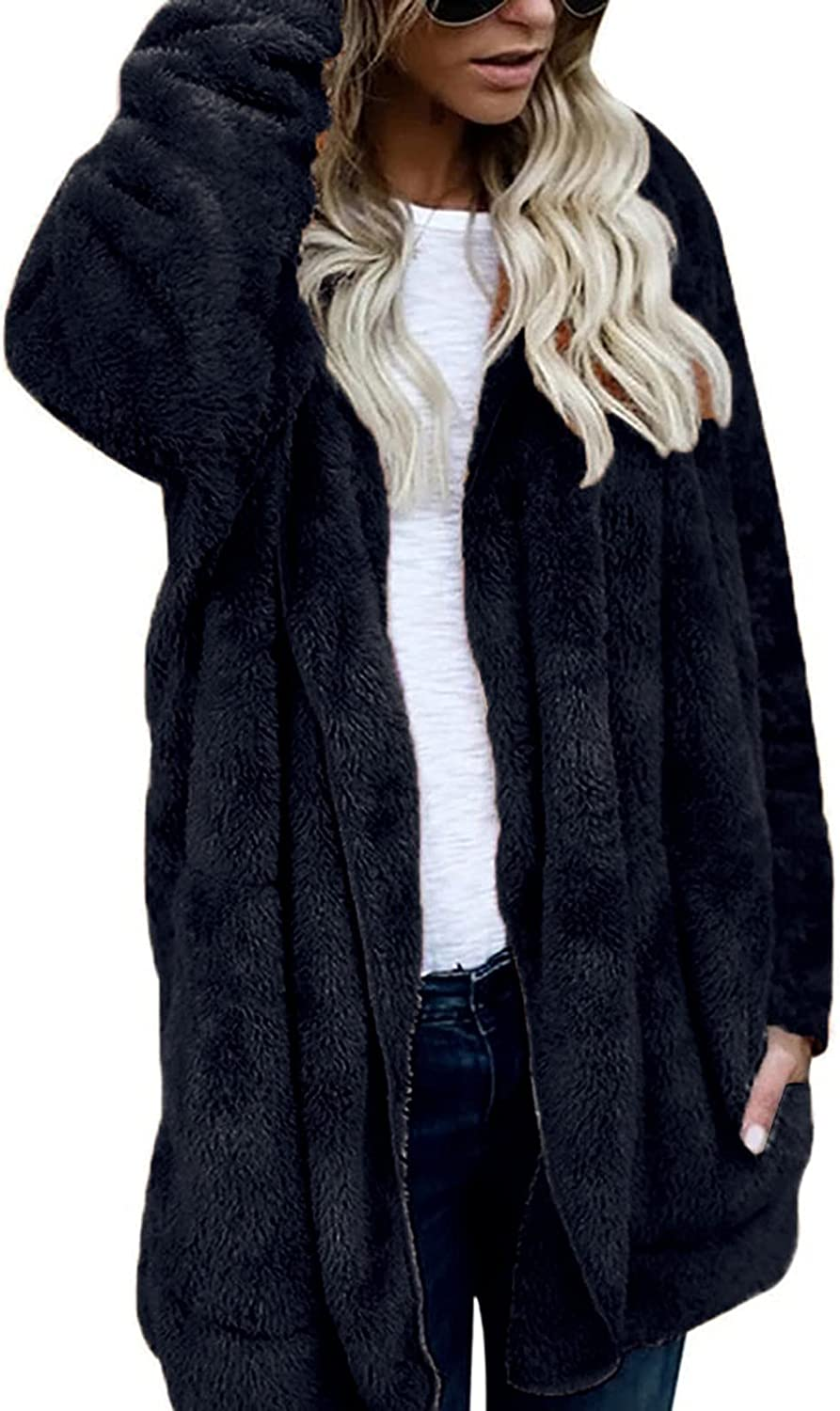 Women'S Winter Faux Fur Plush Solid Color Lapel Coat Mid-Length Long-Sleeved Cardigan With Pockets
