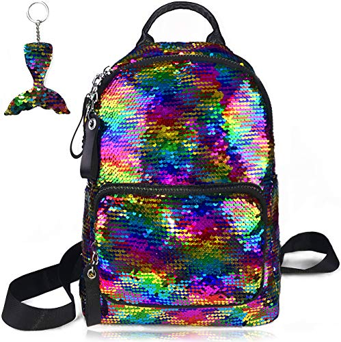 School Backpack for Girls Sequin Kids Elementary Bag Rainbow Flip Sequins Cute Preschool Backpack Lightweight Satchel for Primary Middle Junior High Casual Fashion Purse Mermaid Key Chain