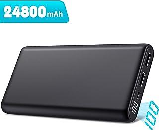 モバイルバッテリー 大容量 【最新版24800mAh LCD数字残量表示】 薄型 小型 急速充電 2USB出力ポート 携帯充電器 バッテリー 各種スマホ/タブレット対応 PSE認証済