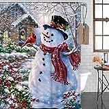 de douche Winter Holiday Frohe Weihnachten Happy Schneemann & Cardinals Duschvorhang New Polyester-Wasserdicht-Bad Vorhang (Dusche Ringe im lieferumfang enthalten), Textil, Multi, 60x72