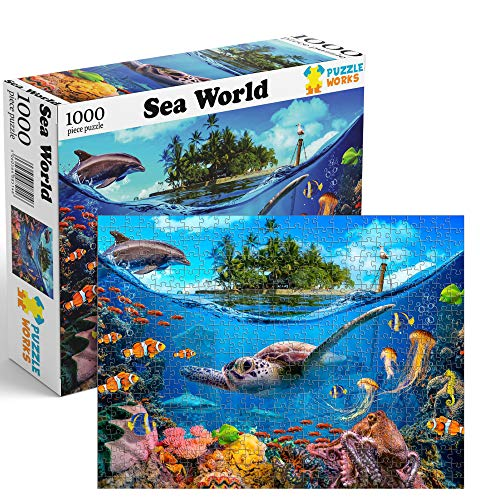 Jigsaw Puzzle for Kids and Adults 1000 Piece Sea Ocean Turtle Fish Theme
