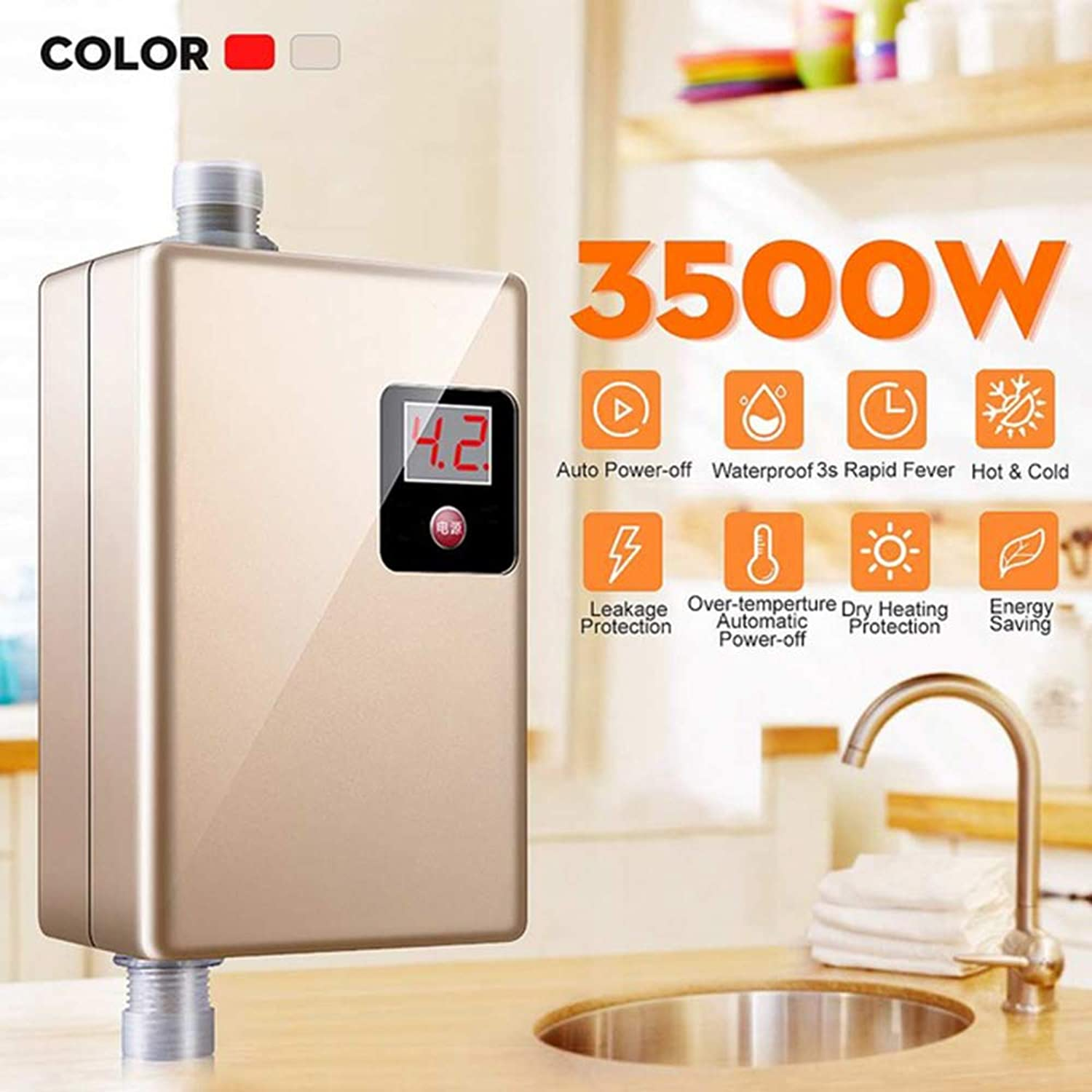 220V 3500W Mini Electric Tankless Instant Hot Water Heater Kitchen Faucet Tap Heating Instantaneous Waterproof Fast Hot Shower,gold