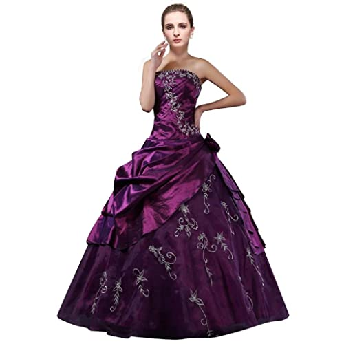 736cd0e1d5e DLFASHION Strapless A-line Embroidered Taffeta Prom Dress