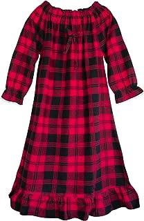 قمصان نوم بناتي قطنية حمراء منقوشة ملابس نوم نوم للأطفال الأميرة بيجامة طويلة الأكمام عيد الميلاد