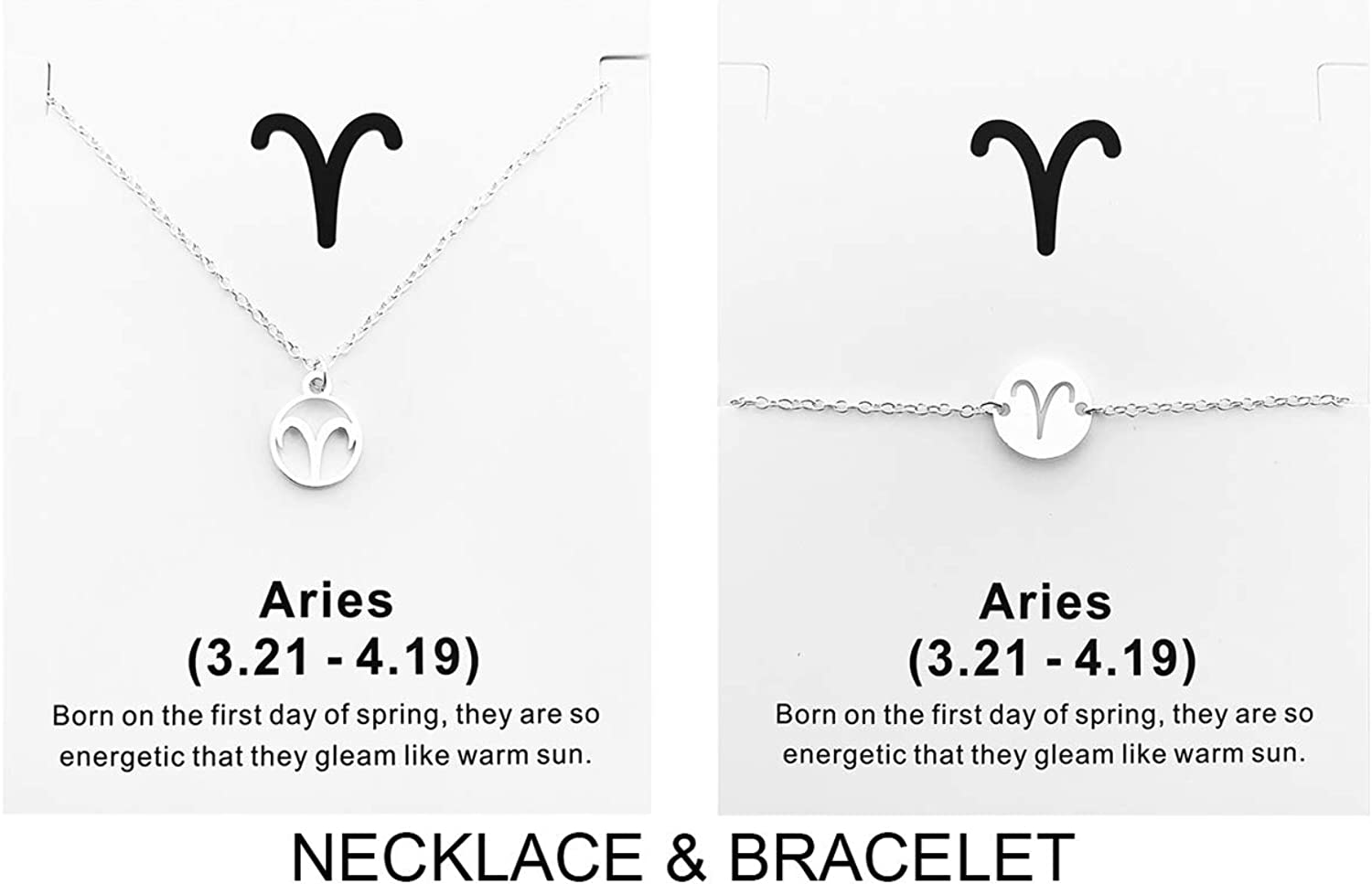 Your Always Charm 2Pcs Zodiac Necklace for Women,12 Constellation Zodiac Pendant Necklace Astrology Necklace with Message Card Zodiac Jewelry Gift