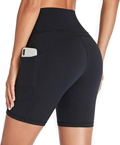 Gimdumasa Shorts de Sport Femmes Taille Haute Leggings Court avec Poche Pantalon Leggins Femme pour Yoga Sports Fitne...