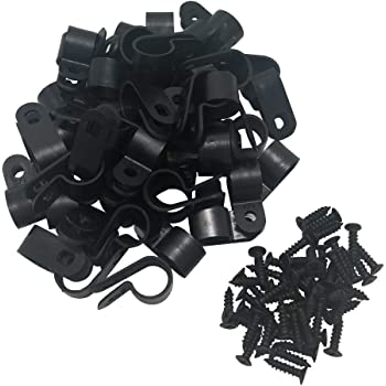 8 Assorted Sizes 265 PCS Black Wire Clips R-type Cable Clip Assortment
