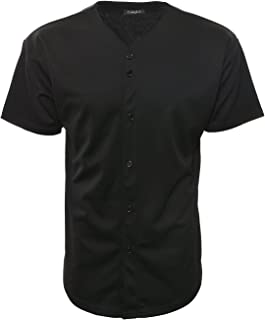 YoungLA Men's Baseball Jersey T-Shirts Plain Button Down Sports Tee 303