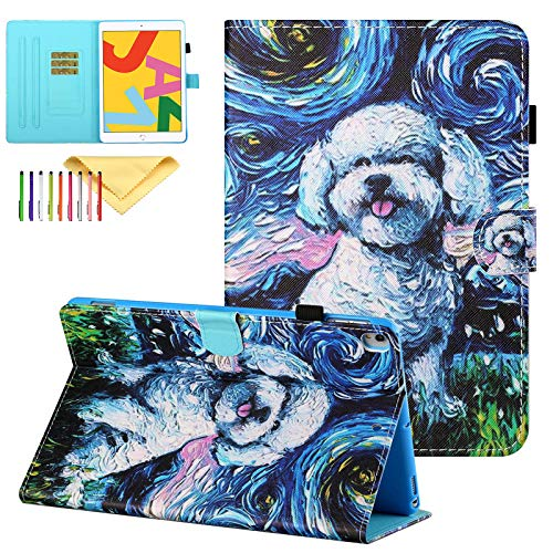 Uliking Case for New iPad 10.2 Inch 2020/2019 (8th/7th Generation), iPad Air 3 2019 Case Pro 10.5 Cover, Uliking Multi-Angle Viewing PU Leather Folio Stand Smart Cover with Auto Wake/Sleep, Dog