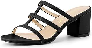 Allegra K Women's T Straps Block Heels Slip On Slide Sandals