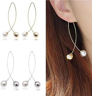 New Cross Imitation Pearl Earrings Long Simple Fashion Earrings Women Wedding Jewelry