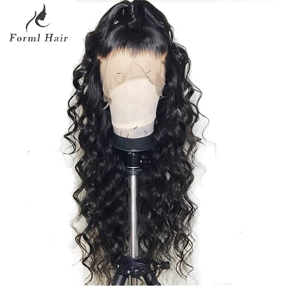 Formal hair® 360 Lace Frontal Loose Curly Wave Human Hair Wigs-Glueless 150% Density Brazilian Virgin Remy Wigs with Baby Hair For Black Woman 20 inch, Natural Color
