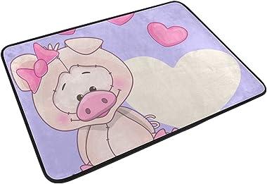 MASSIKOA Pig Greeting Non Slip Backing Entrance Mat Floor Mat Rug Indoor Outdoor Front Door Bathroom Mats 23.6 x 15.7 inch
