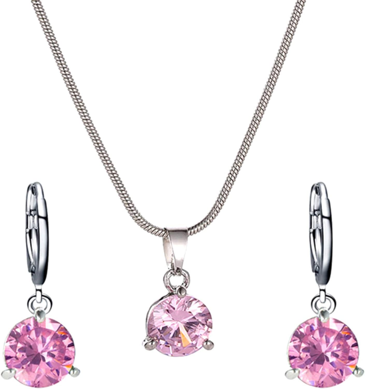 Bridal Jewelry Set for Wedding,Women Round Cubic Zirconia Pendant Chain Necklace Hoop Earrings Jewelry Set