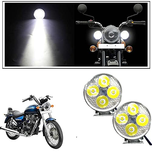 Vheelocityin 4 Led Small Circle Motorcycle Light Bike Fog Lamp Light - 2 Pc For Royal Enfield Thunderbird
