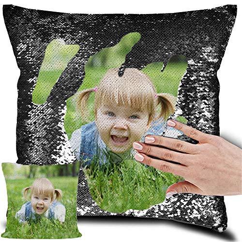 LIWEIXKY Cojines Personalizados Diseño Propio Foto Sirena Almohada Lentejuelas Reversibles Almohada mágica Negro